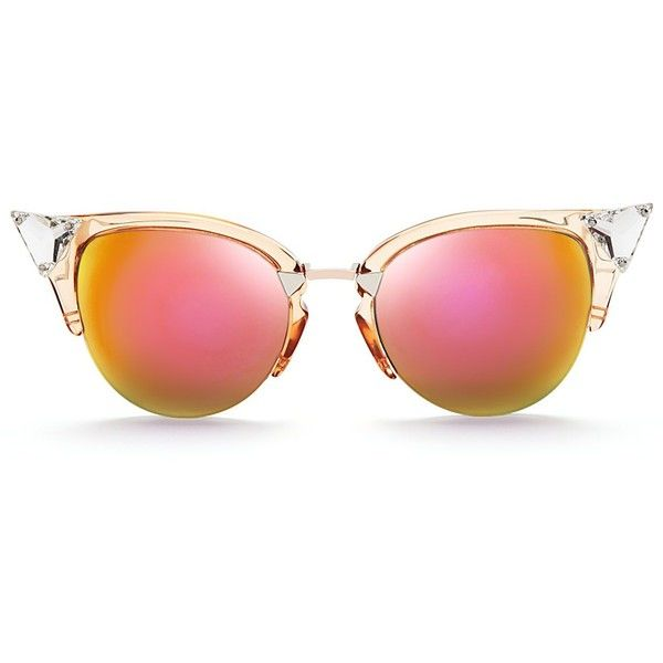 e0d58305a16c Fendi Crystal Embellished Mirrored Cat Eye Sunglasses ( 525) ❤ liked on  Polyvore featuring accessories
