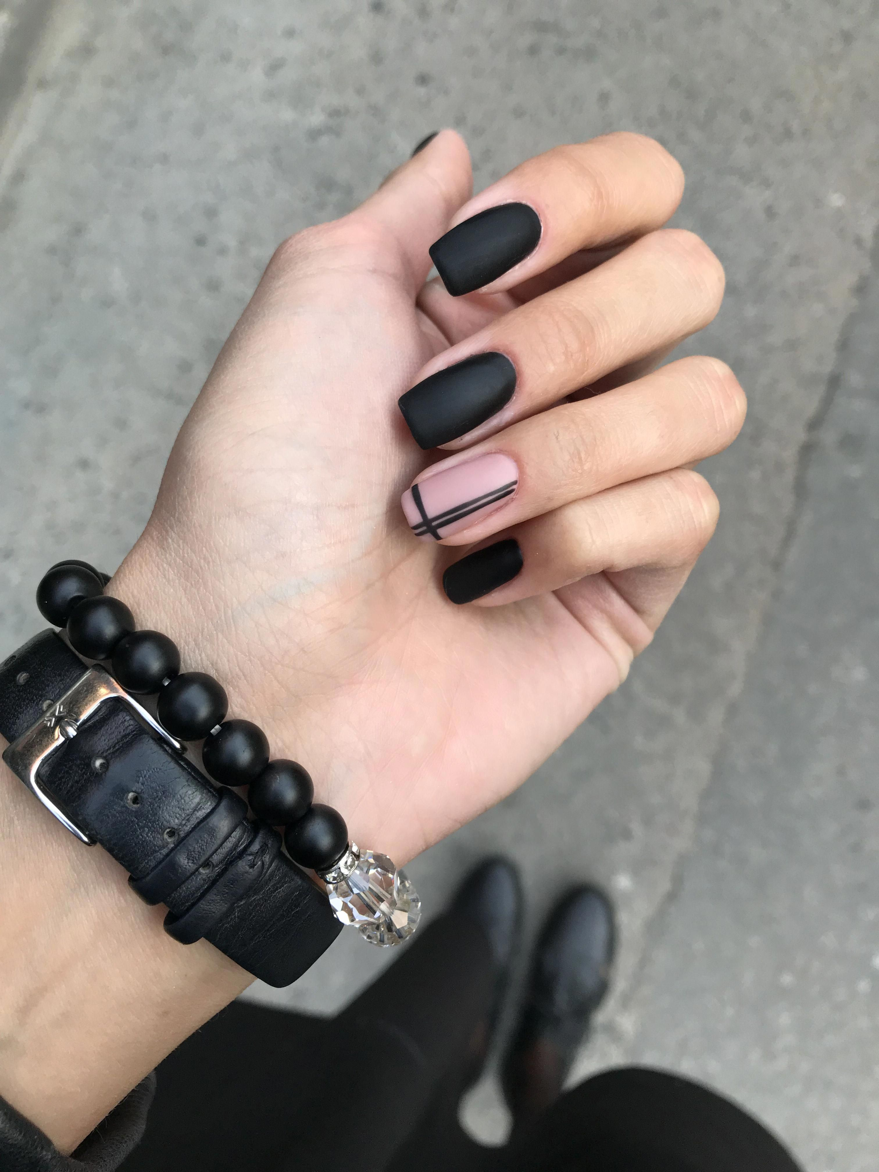 Black Nails Art Design
