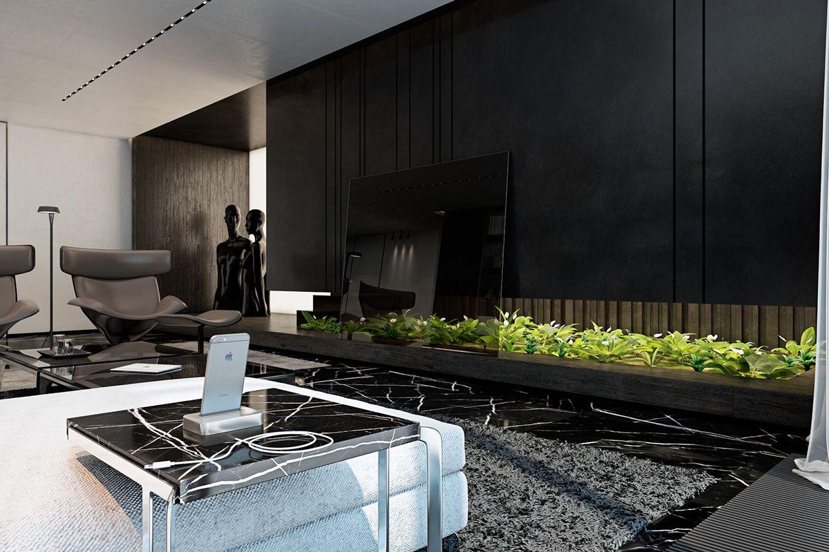 Three Luxurious Apartments With Dark Modern Interiors Interior Design Living Room House Design Living Room Interior