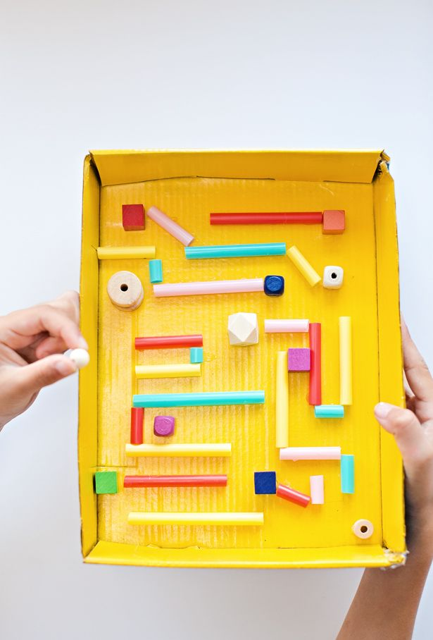 Kid made diy recycled cardboard marble maze fun recycled for Building materials that start with i