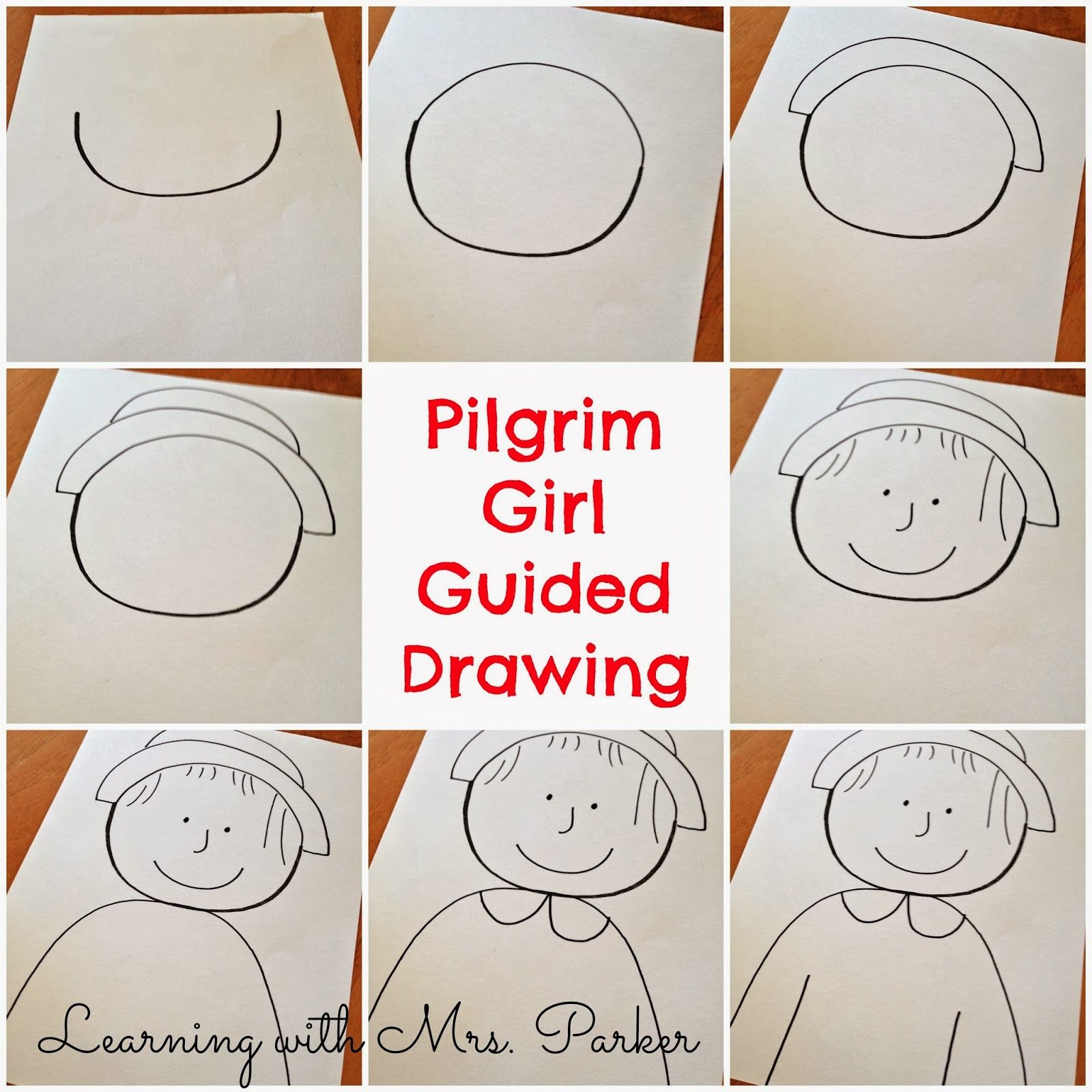 A Step By Visual Guide Of How To Draw Pilgrim Boy And Girl As