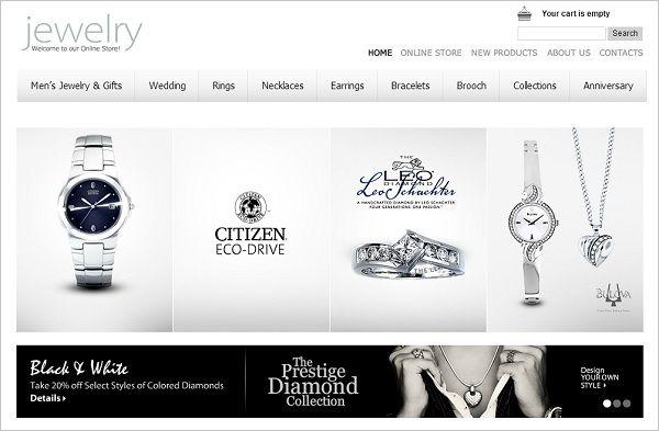Jewelry Website Design Monochrome Website Template fonts