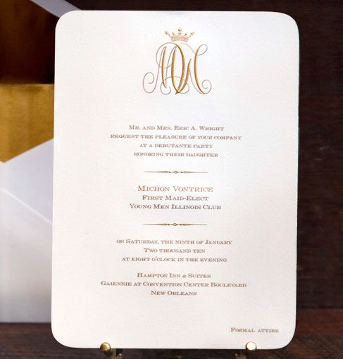 Scriptura Regal Monogram Debutante Party Invitation St Regis