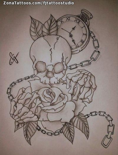 Diseño De Calaveras Rosas Relojes Tatuajes Calaveras Y Rosas