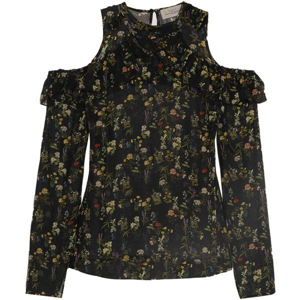 Preen by Thornton BregazziLera Cutout Floral-print Silk-georgette Top ($285) ❤ liked on Polyvore featuring tops, shirts, black, floral print tops, floral tops, cutout tops, ruffle shirt and flutter-sleeve top