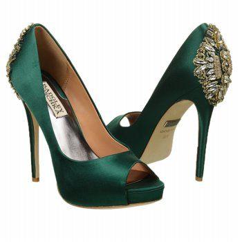 Womens Badgley Mischka Dree II Emerald Green Satin Shoes