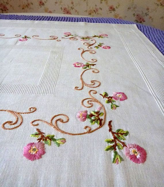 Off white vintage cotton square tablecloth roses