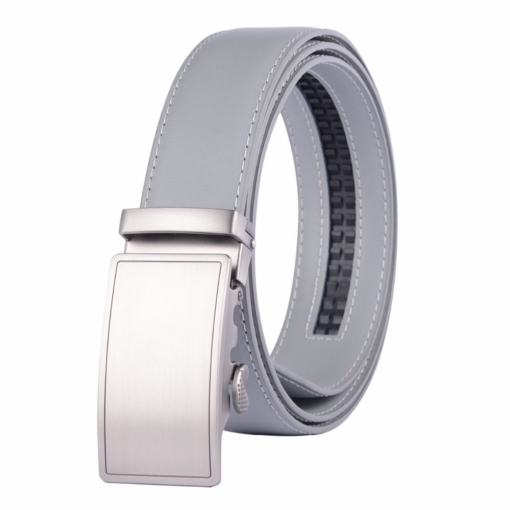 new designer popular luxury cowhide leather belt gray automatic