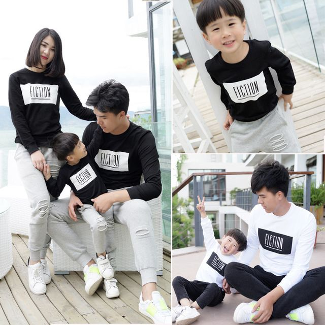 Men Boys Long Sleeve T-shirt Father Son Matching Tattoo Tops Family Clothes Set