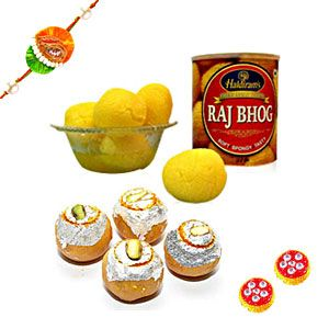 Surprise your loved ones in India by sending them this delicious sweet hamper. It includes 8 pieces of Raj Bhog and Khir Kadam sweets.