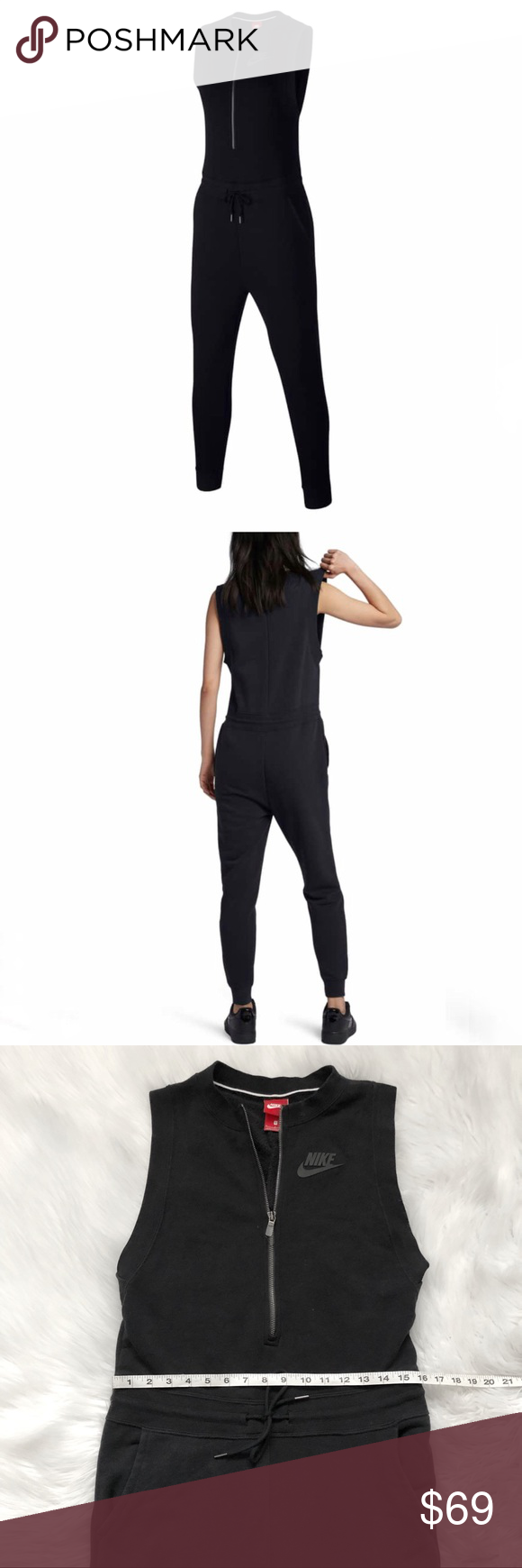 a2430eae3 Nike Sportswear Romper! NIKE Modern Romper Jumpsuit! Size S. Beautiful French  Terry jumpsuit. Front zip. Drawstring waist band. Measurements in the  photos.