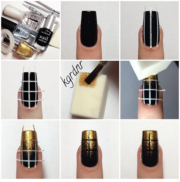 Elegant Nail Art: Black and Gold Nails - DIY   Gold nail, Art ...