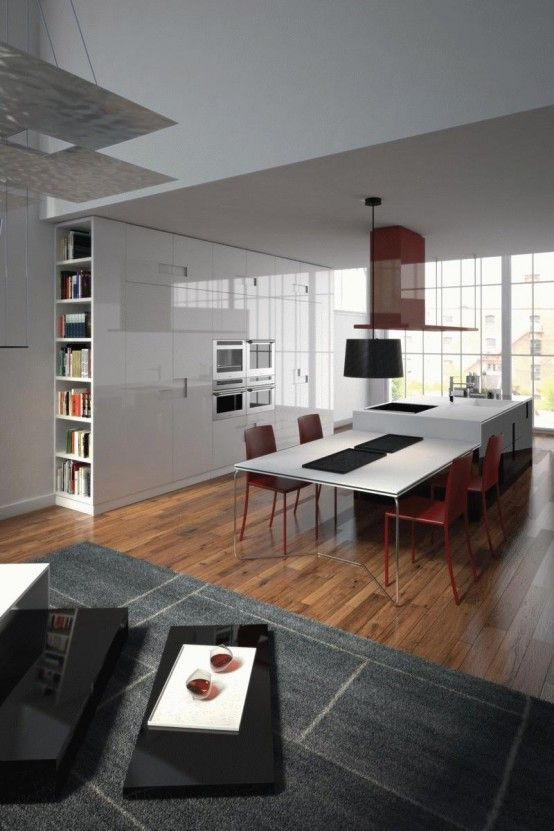 Love The White And Red Combination And The Bookcase Especially Perfect For My Kitchen Island And Table Combo Kitchen Island Table Kitchen Island Dining Table
