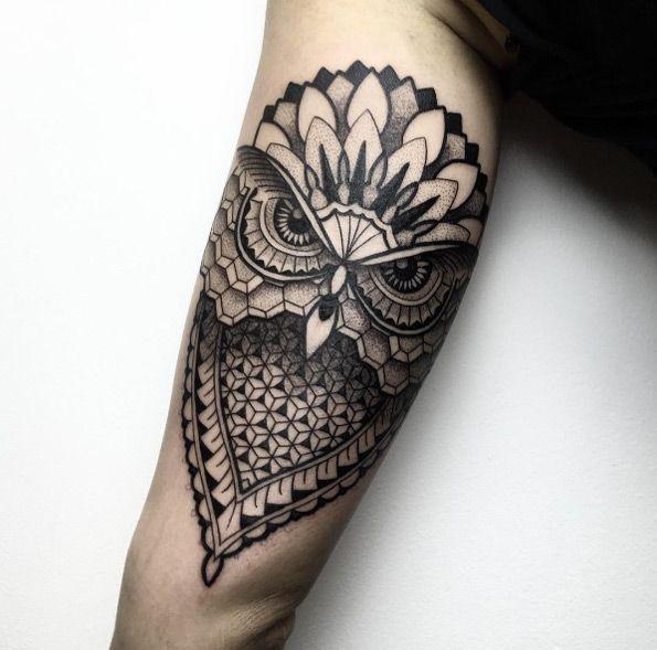 Geometric Owl Tattoo By Melow Perez Geometric Owl Tattoo Owl Tattoo Design Geometric Owl
