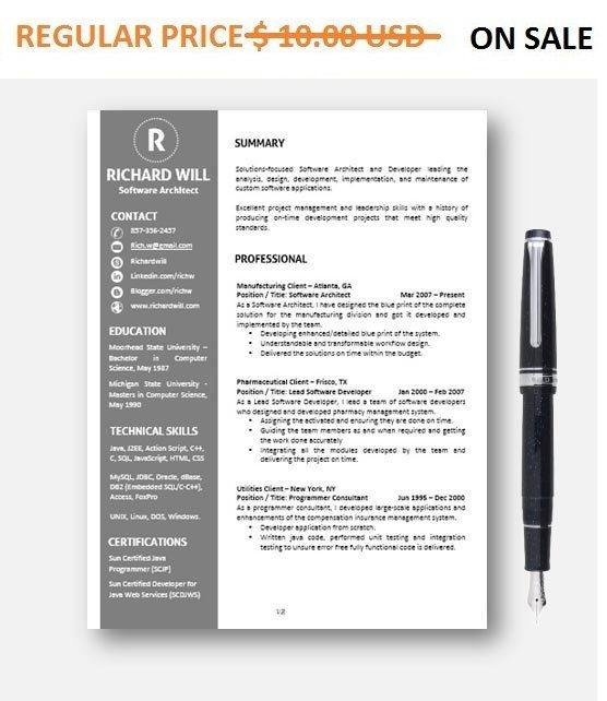 Resume Template CVTemplate + AddOn, CoverLetter for MS Word - ms word for sale
