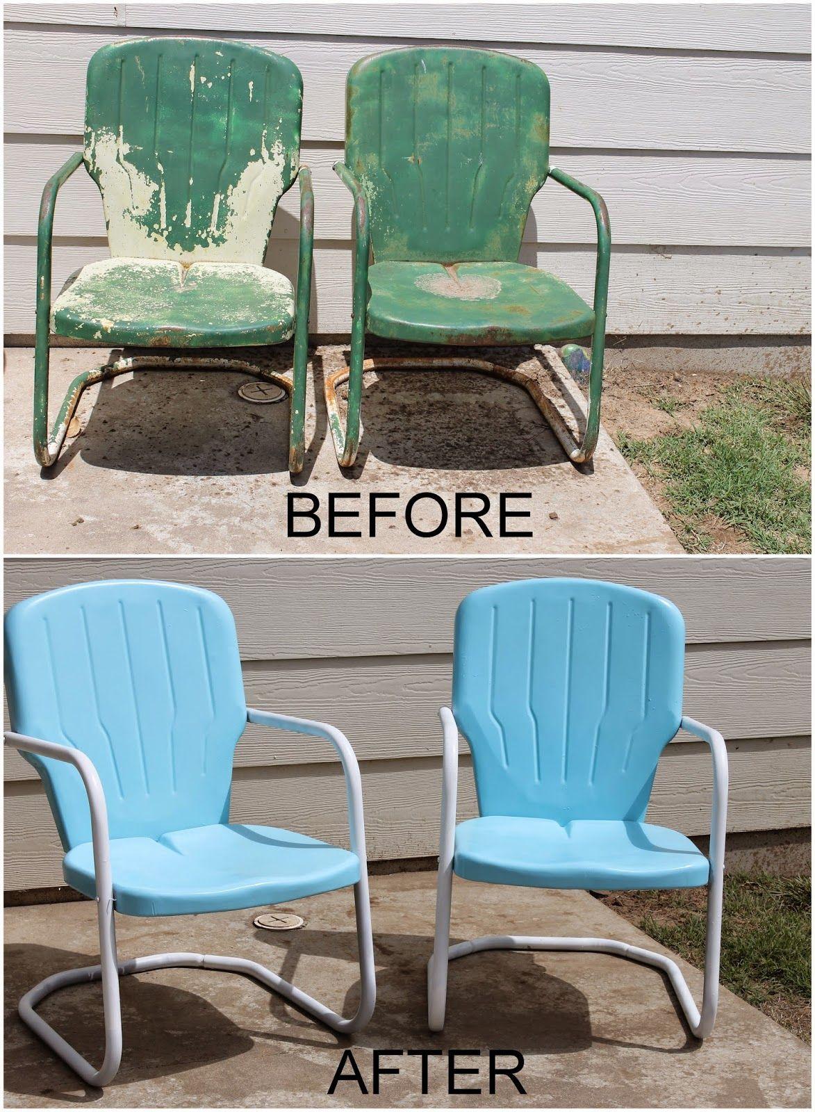 old metal chairs knee chair ikea repaint patio diy paint outdoor motel