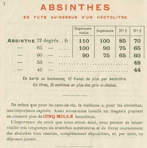 Liste De Prix Pour Delizy Et Doistau Base A Pantin Pres De Paris Absinthe Liste De Prix Liste De