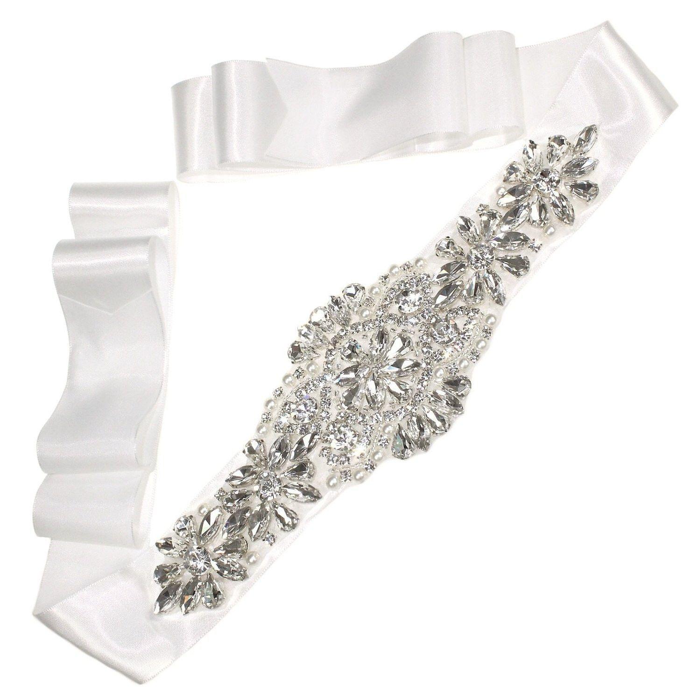 Crystal and pearl beaded wedding belt rhinestone bridal