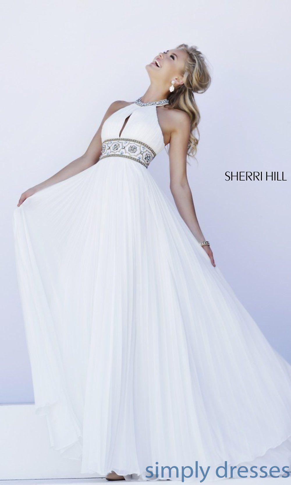 Sherri hill halter top pleated prom dress halter top prom dresses