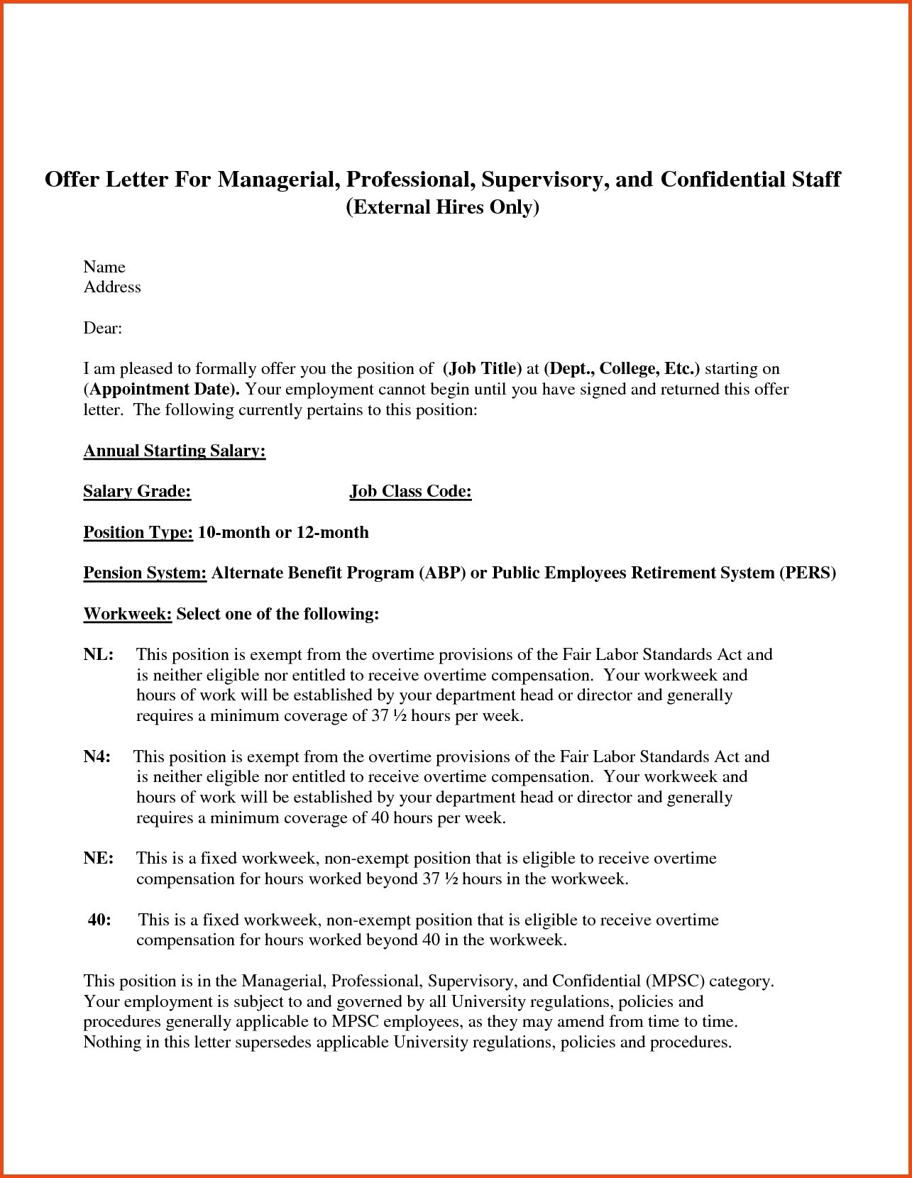 Offer Letter Employment Sample Leave Formats Best Template