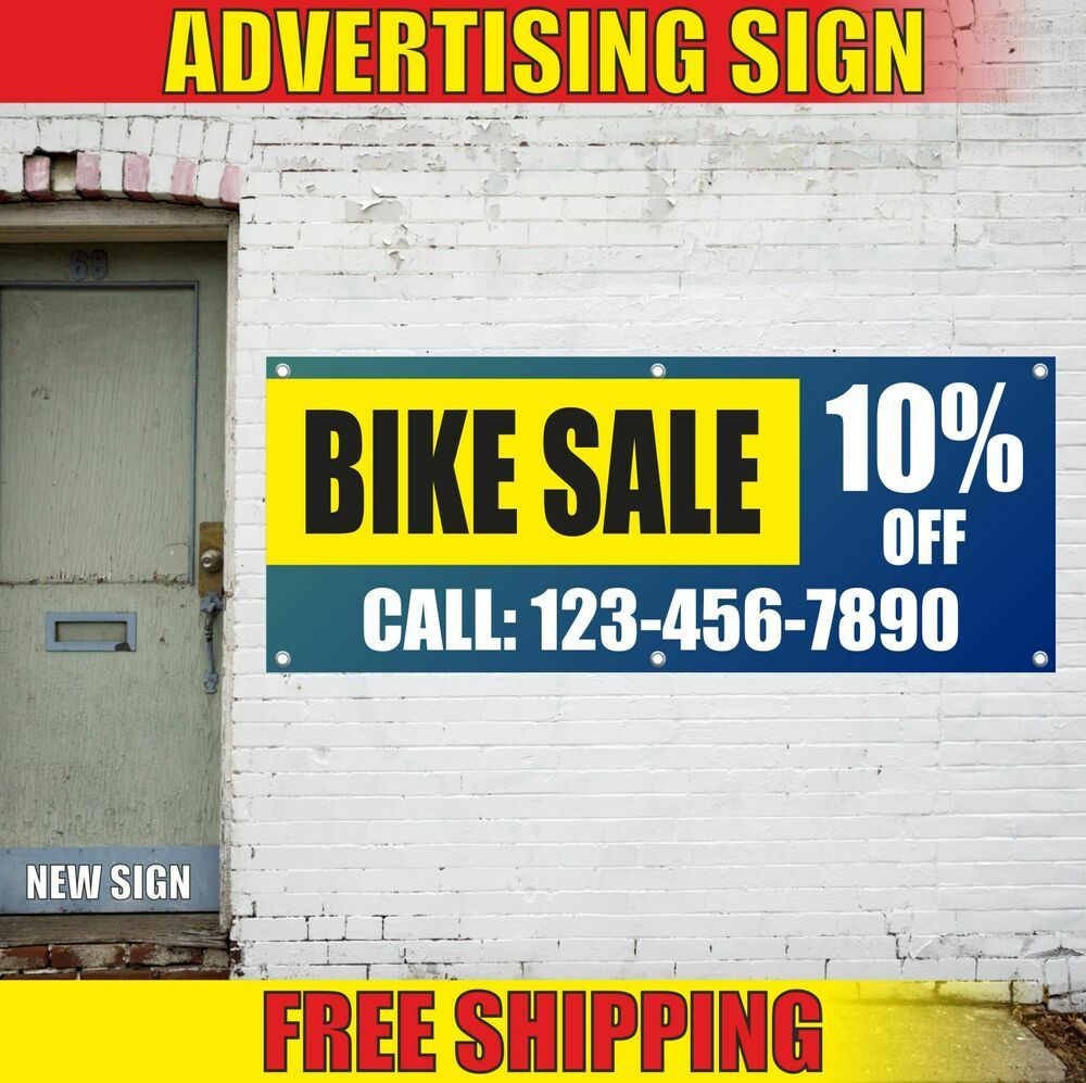 Bike Sale 10 Off Call Advertising Banner Vinyl Mesh Decal Sign Motorcycle Shop Advertising Signs Bikes For Sale Banner Advertising