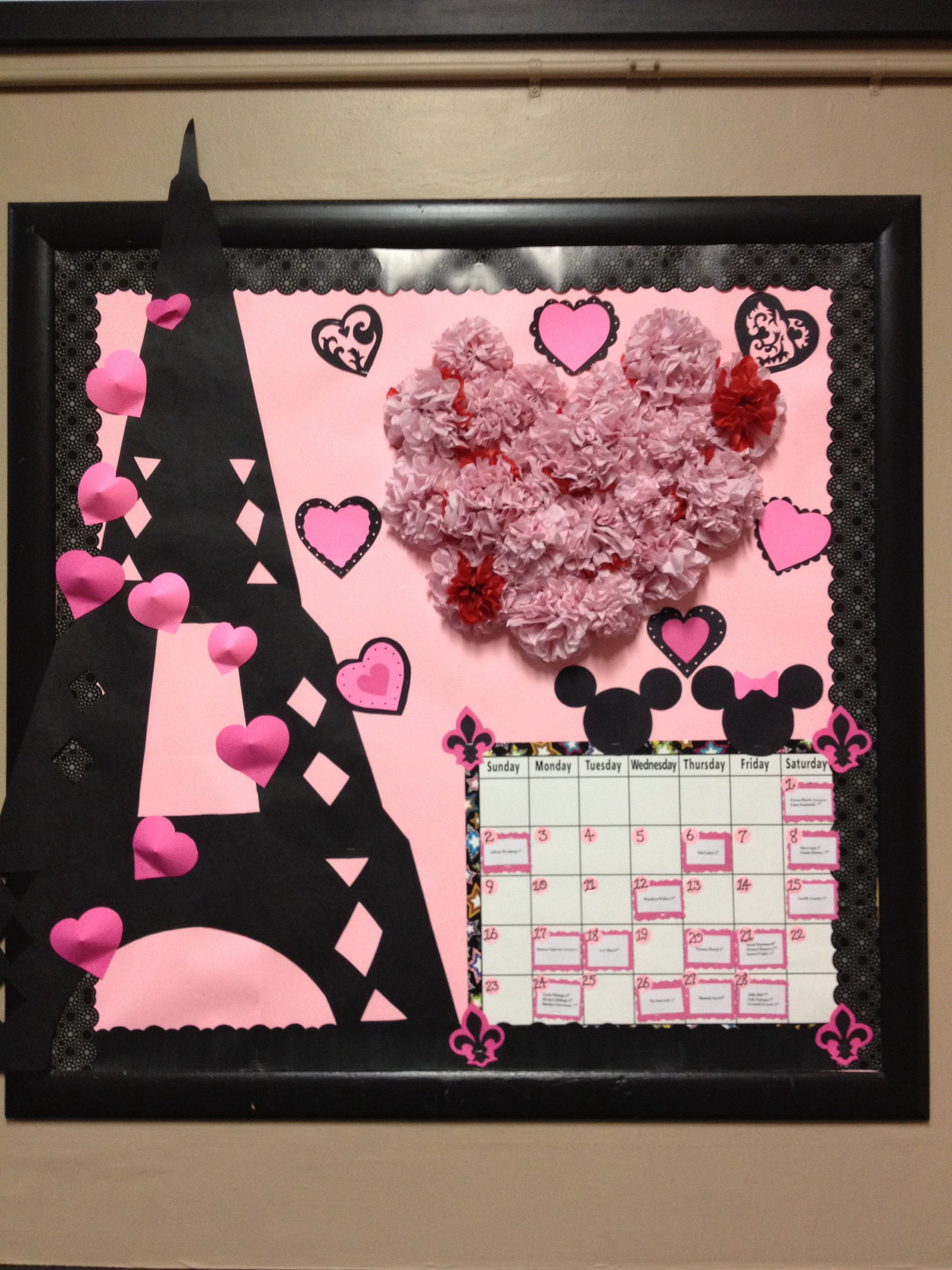 February 2014 Bulletin Board Pink And Black Paris In Love Theme