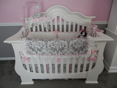 Elegant White Pink And Gray Damask Baby Crib Bedding Set