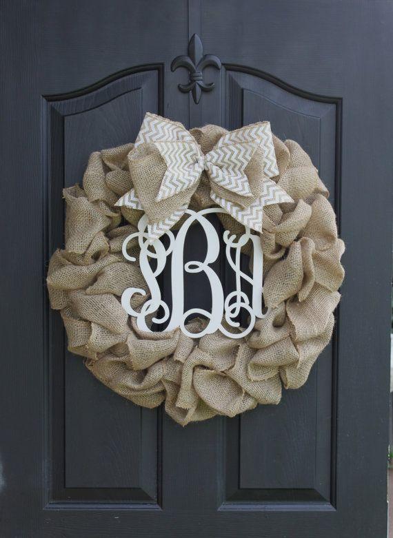 Wreath - monogram wreath - burlap wreath - wreath for door - door wreath - summer wreath  door Wreaths - Chevron Summer Wreath  Fall Autumn on Etsy, $90.00