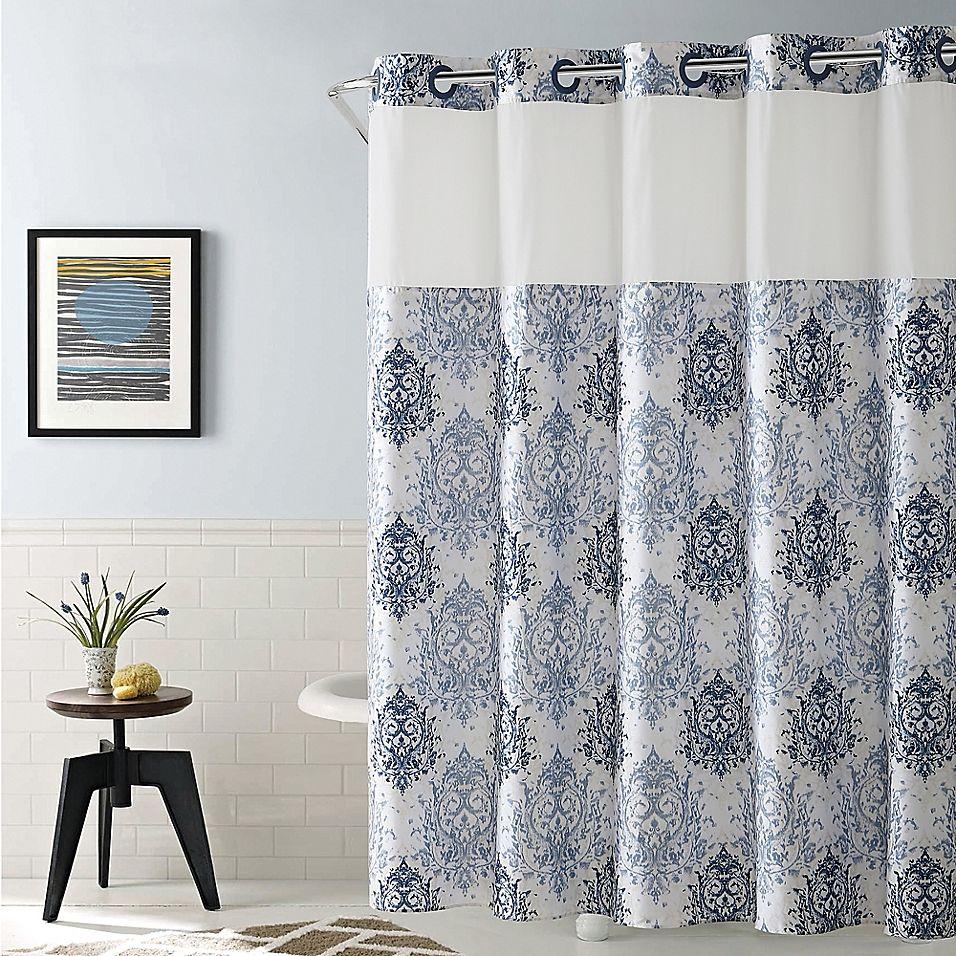 Hookless Ikat 71 X 86 Shower Curtain In Estate Blue Long