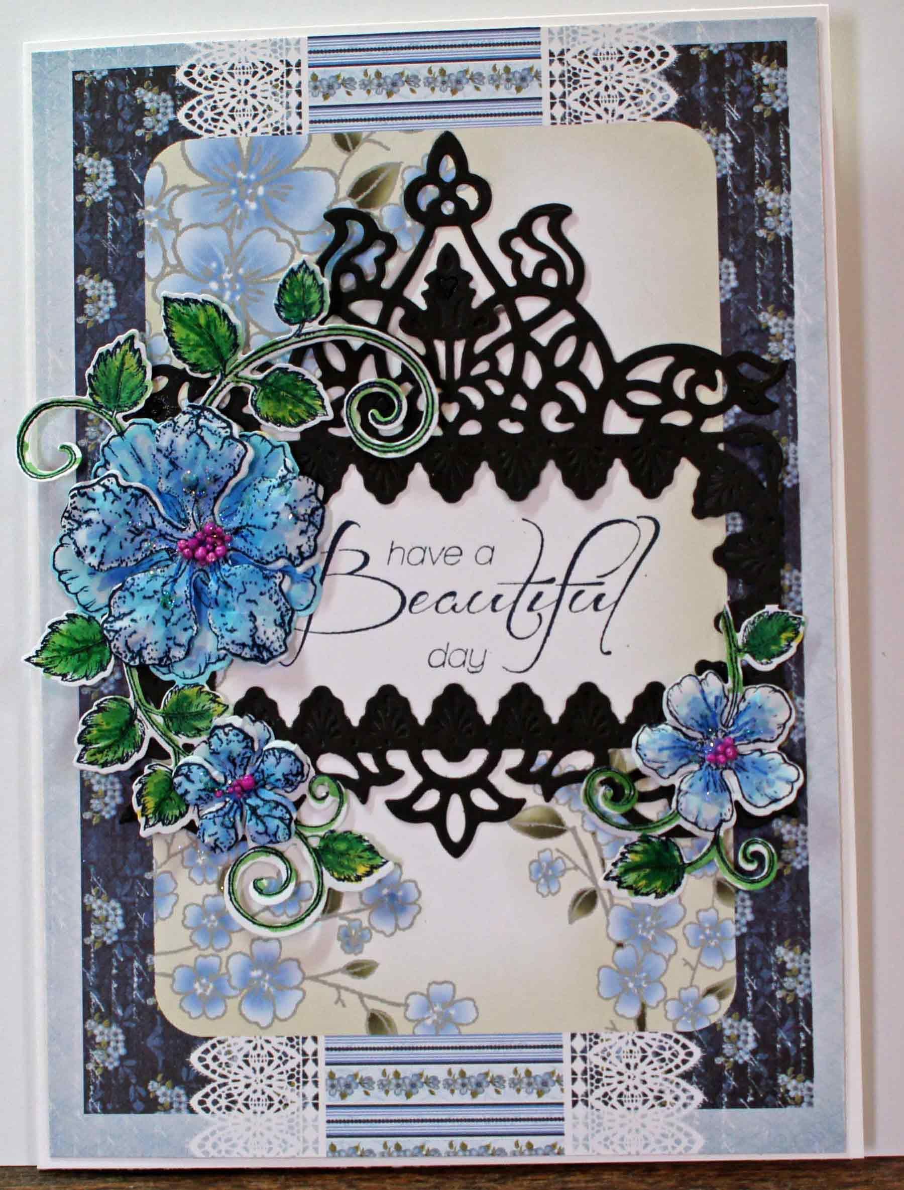 heartfelt blushing rose swirls stamp with spellbinders