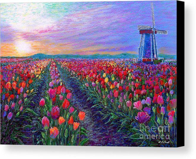 Windmill Painting Tulip Field on Sunset Impasto Artwork Floral Netherlands Landscape Original Small Art 8x10 Oil Painting