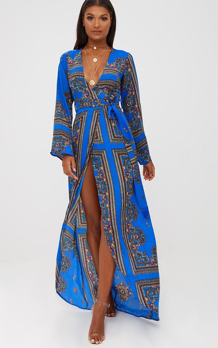 Cobalt Print Satin Kimono Maxi Dress Kimono Maxi Dress Satin Kimono Fashion Clothes Women [ 1180 x 740 Pixel ]