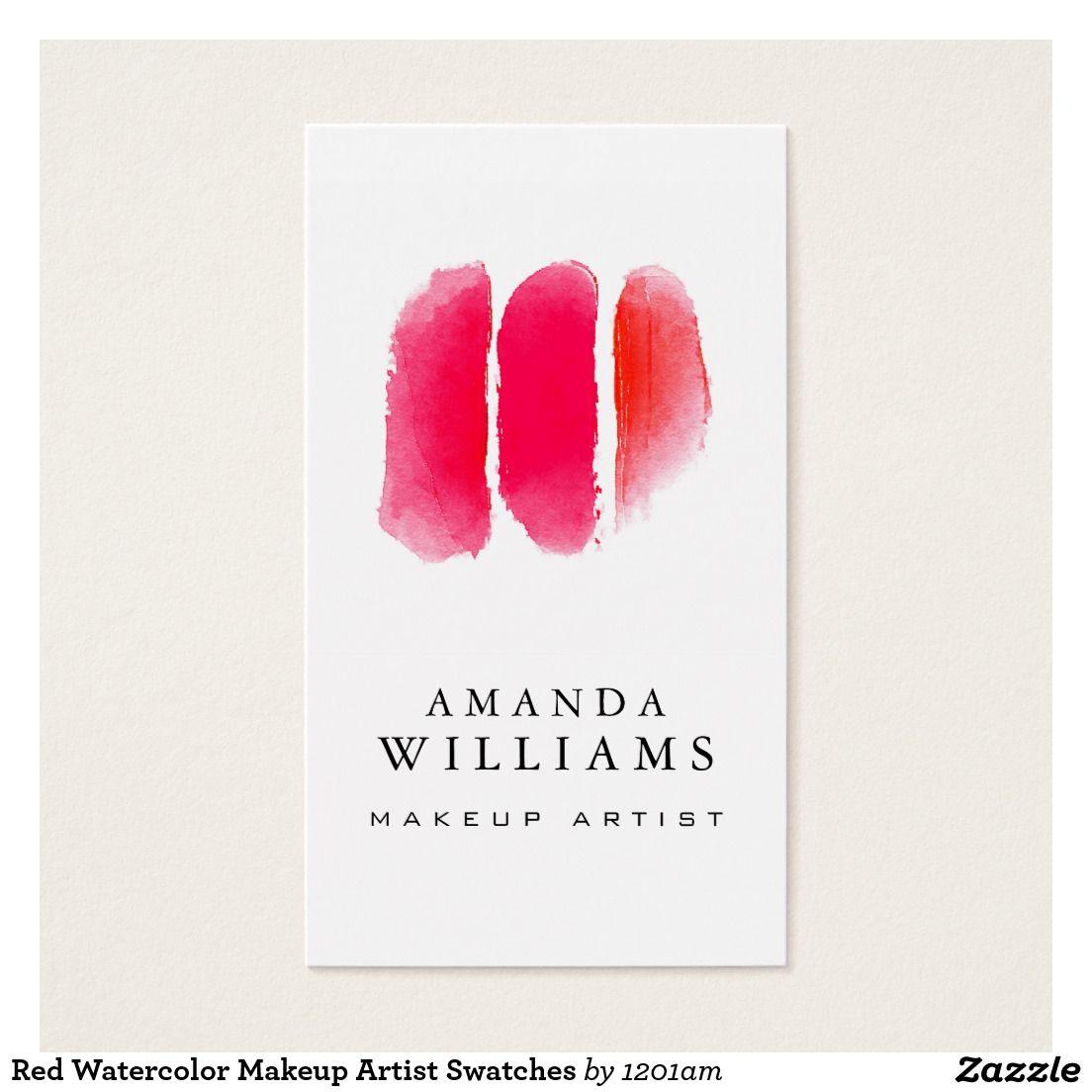 Rote Aquarell Maskenbildner Muster Visitenkarte Zazzle Ch
