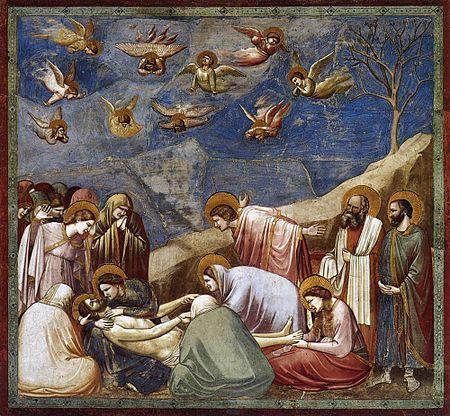 AUTOR:Giotto TITULO:LLanto sobre Cristo Muerto. ESTILO: Gótico.  Es el gran maestro de la escuela florentina y el verdadero iniciador de la pintura moderna por su investigación sobre el espacio tridimensional, la anatomía y la luz. Nunca en la pintura anterior se había presentado una expresión más viva como en el arte de Giotto.  Giotto redescubrió el arte de crear la ilusión de la profundidad sobre una superficie plana, lo que le permitió cambiar todo el concepto de la pintura.