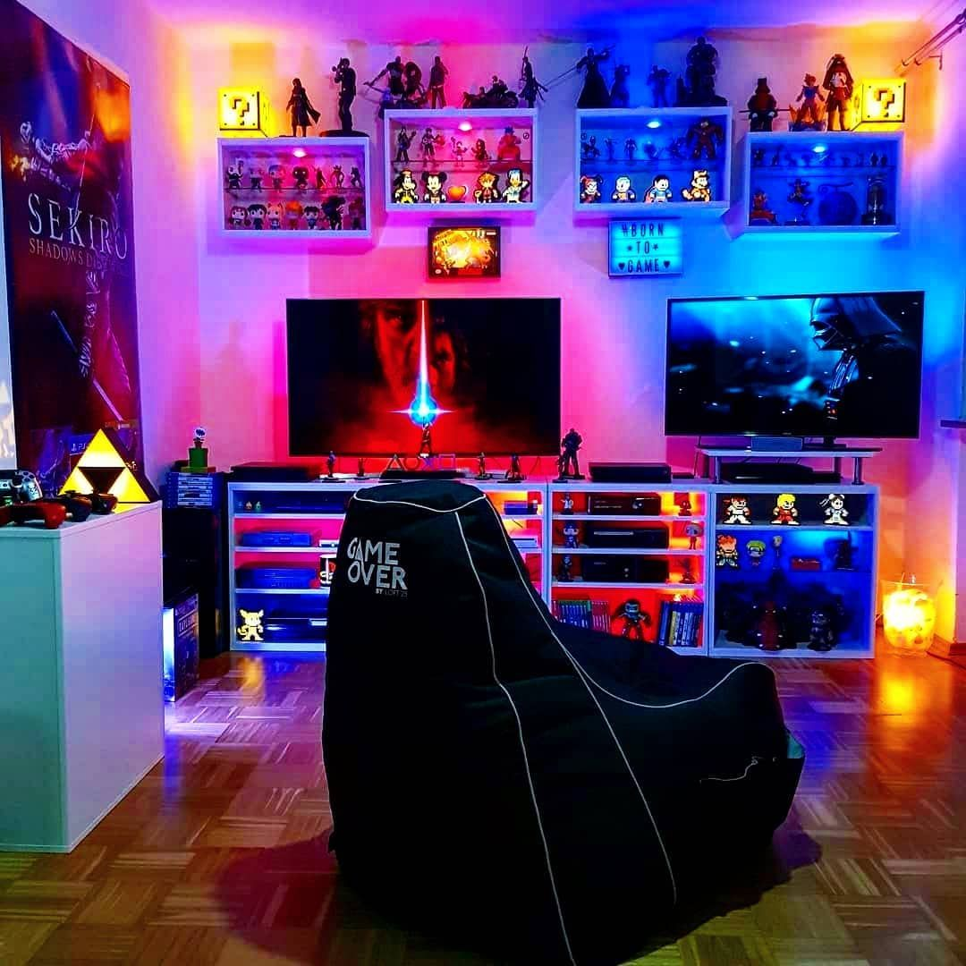 To find the right tv size for your roo. LED Colorfully Lit Game Room in 2020 | Video game rooms ...