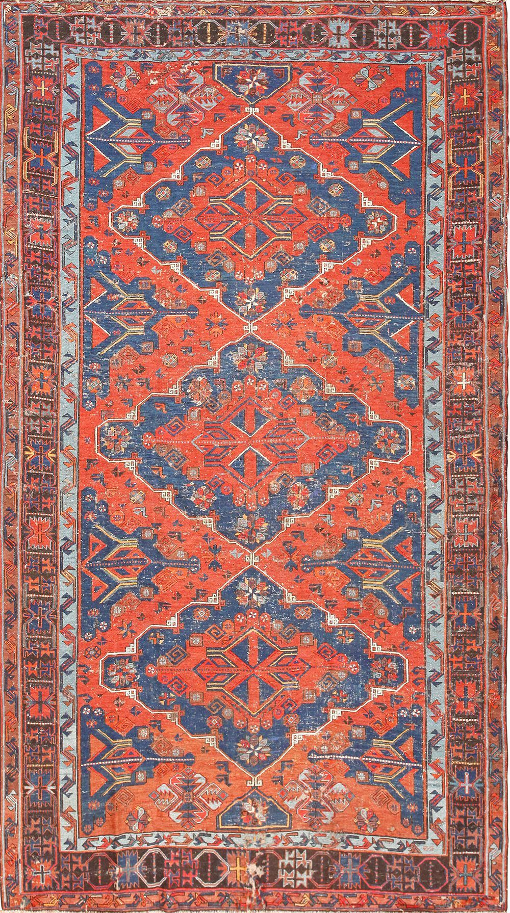 Click Here To View This Gorgeous Three Medallion Room Sized Antique Tribal Caucasian Soumak Rug By Nazmiyal Rugs In New York City