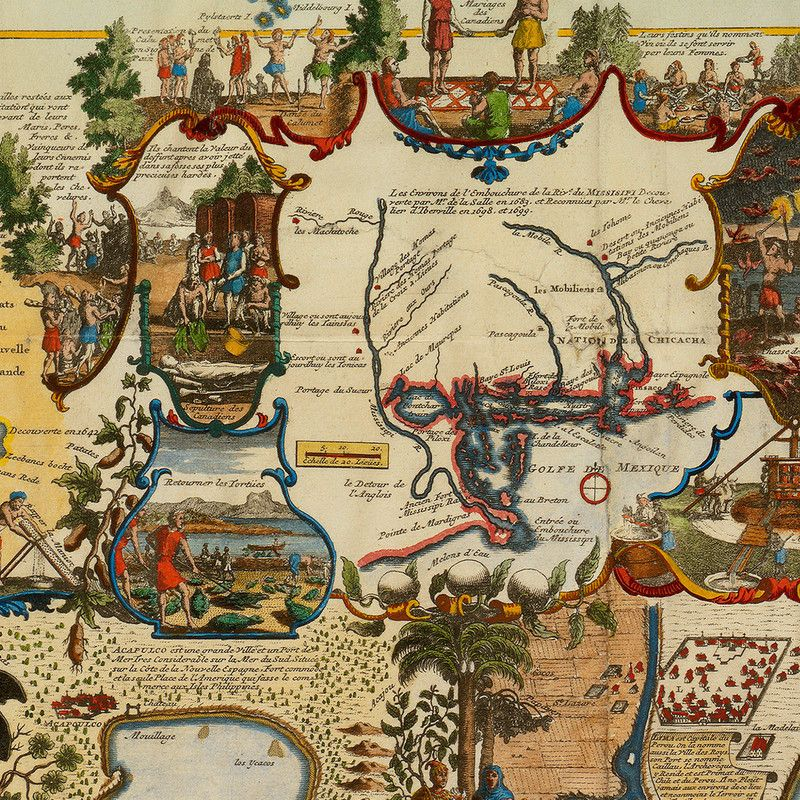 World map from 1719 by chatelain closeup maps age of discovery a 1719 large map of the americas and the pacific ocean by chatelain gumiabroncs Images