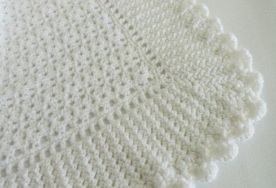 White Baby Blanket Christening, Crochet Afghan, Heirloom, Newborn ...