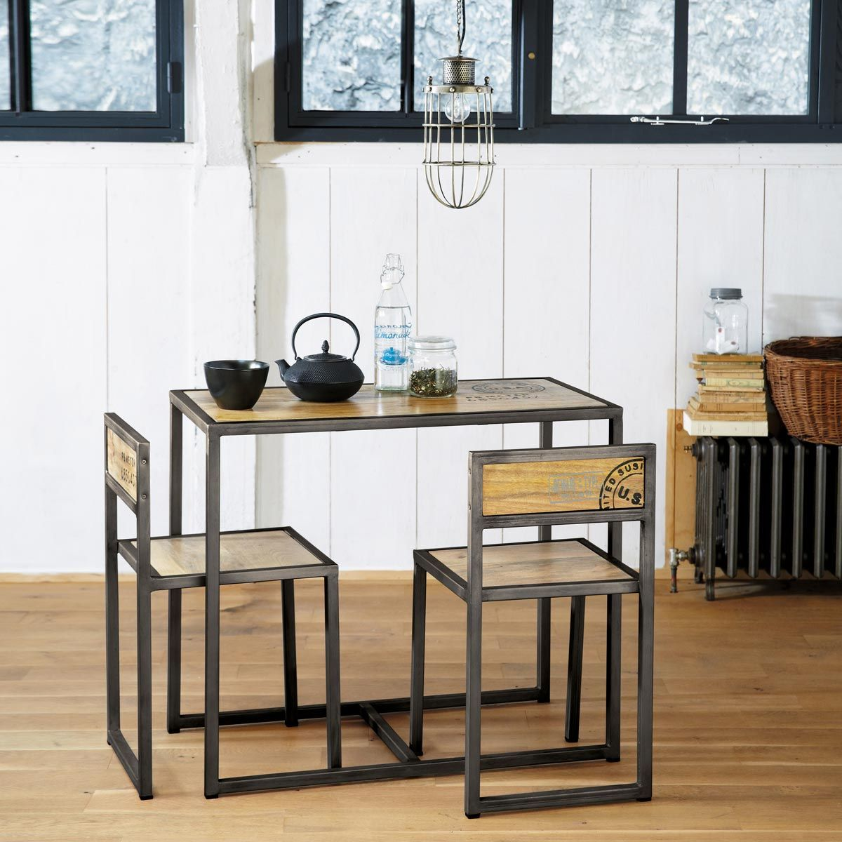 Table and 2 chairs MANUFACTURE - Maisons du Monde | Kitchen table ...