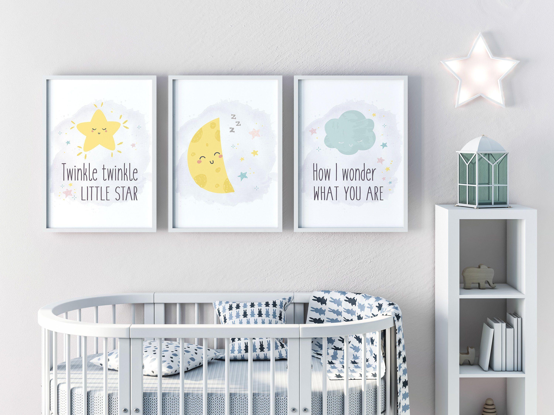 Twinkle Twinkle Little Star Wall Art Set Of 3 Moon Star Nursery