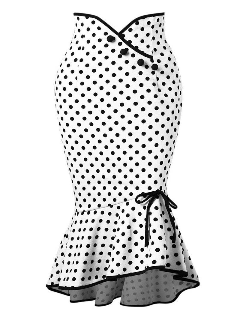 2414be19cd35b Polka Dot High Waist A-Line Bodycon Women's Skirt in 2019   Clothes ...