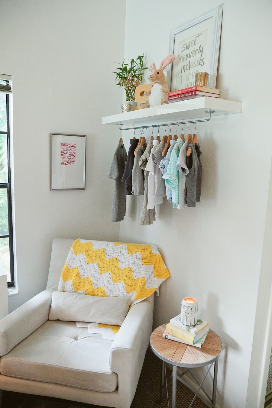 wall shelves and hanging rod in nursery...I want to do a smaller ...