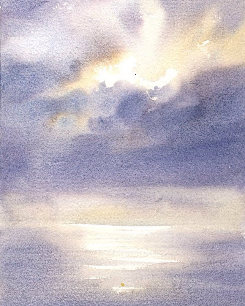 Heavens Sterkhov Watercolor Watercolour Aquarelle Sea Sky