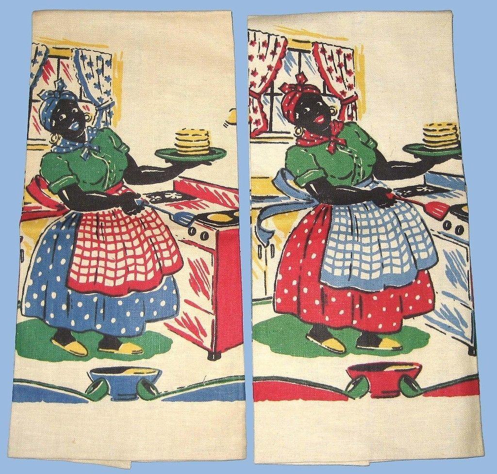 Vintage Aunt Jemima Flipping Pancakes Linen Towels 7 Different