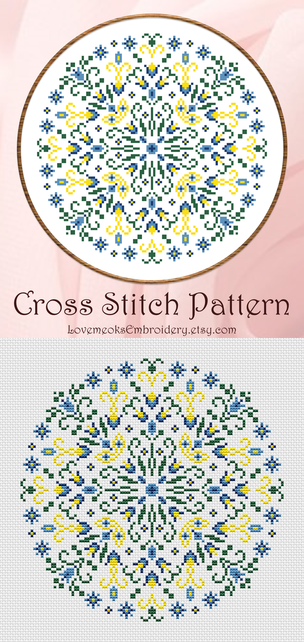 Mandala cross stitch pattern | Folk floral embroidery design | Ethnic modern cross stitch | Floral hoop art | Instant download PDF #936