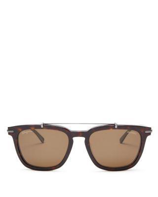 SALVATORE FERRAGAMO Square Metal Bar Sunglasses, 54mm. #salvatoreferragamo #54mm