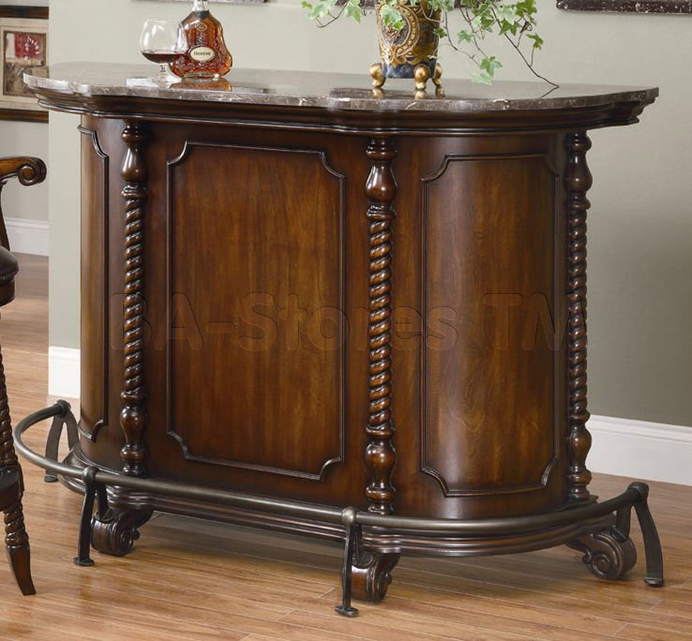 Bar Unit in Brown with Marble Top - Coaster Co. | Home bar ...