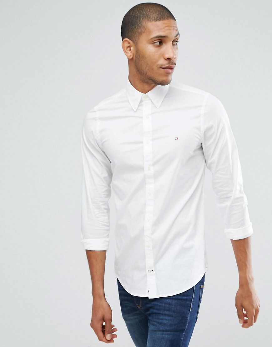 b583235b9ec Tommy Hilfiger oxford shirt with stretch in slim fit in white | Top ...