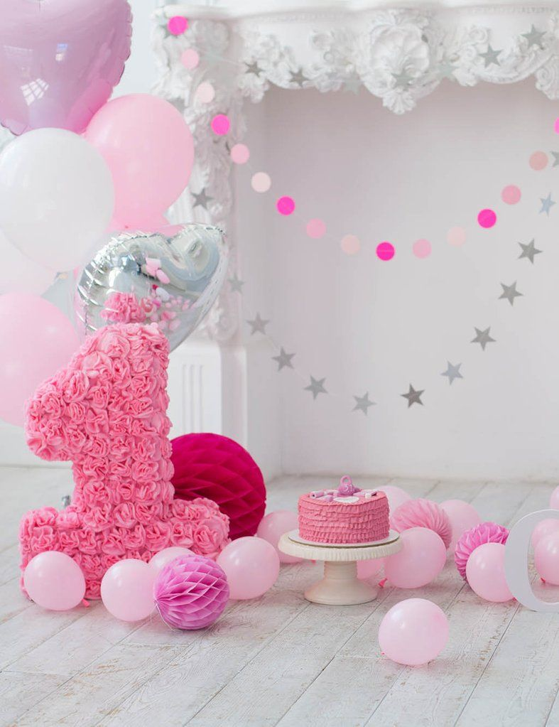 Pink Balloons And Fireplace For Baby 1 Birthday Photo ...