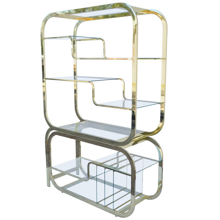 Mid Century Modern Milo Baughman Brass And Glass Etagere With Slide Out  Server | 1stdibs